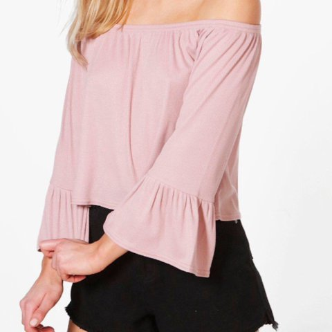 576c59ea3f4bf Boohoo pink off the shoulder   Bardot frill end top. Size 14 - Depop