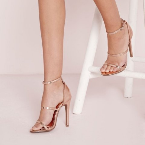f943b0d91 @xavin. in 15 hours. London, United Kingdom. Missguided - Three Strap  Barely There Heeled Sandals Rose Gold ...