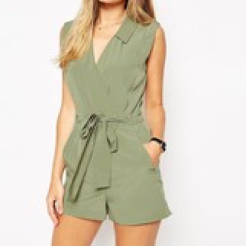 b38947f3d4 Khaki green playsuit great for a night out only worn once - Depop