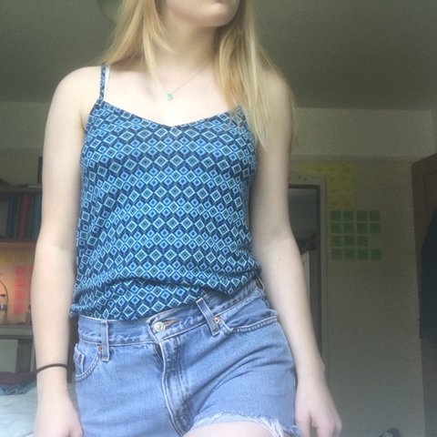 48fb5bf6dc078 REDUCED - topshop blue strappy cami top