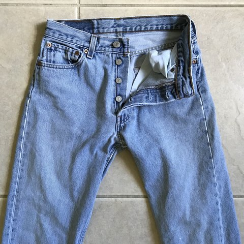 39de0559 OH MY GOSH Vintage Levis 501's! Light wash, button up fly, A - Depop