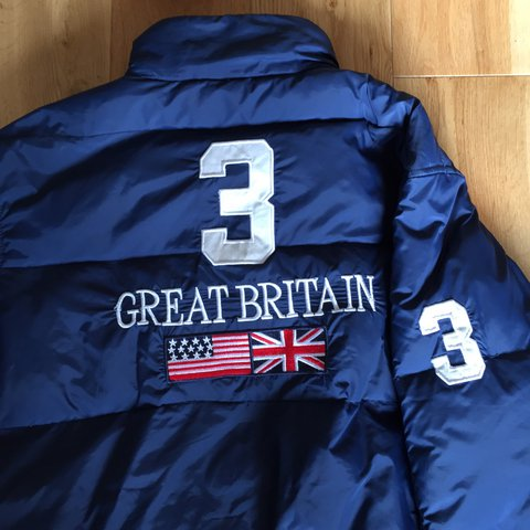 aed1ff68a Vintage Ralph Lauren Great Britain polo team puffer down on - Depop