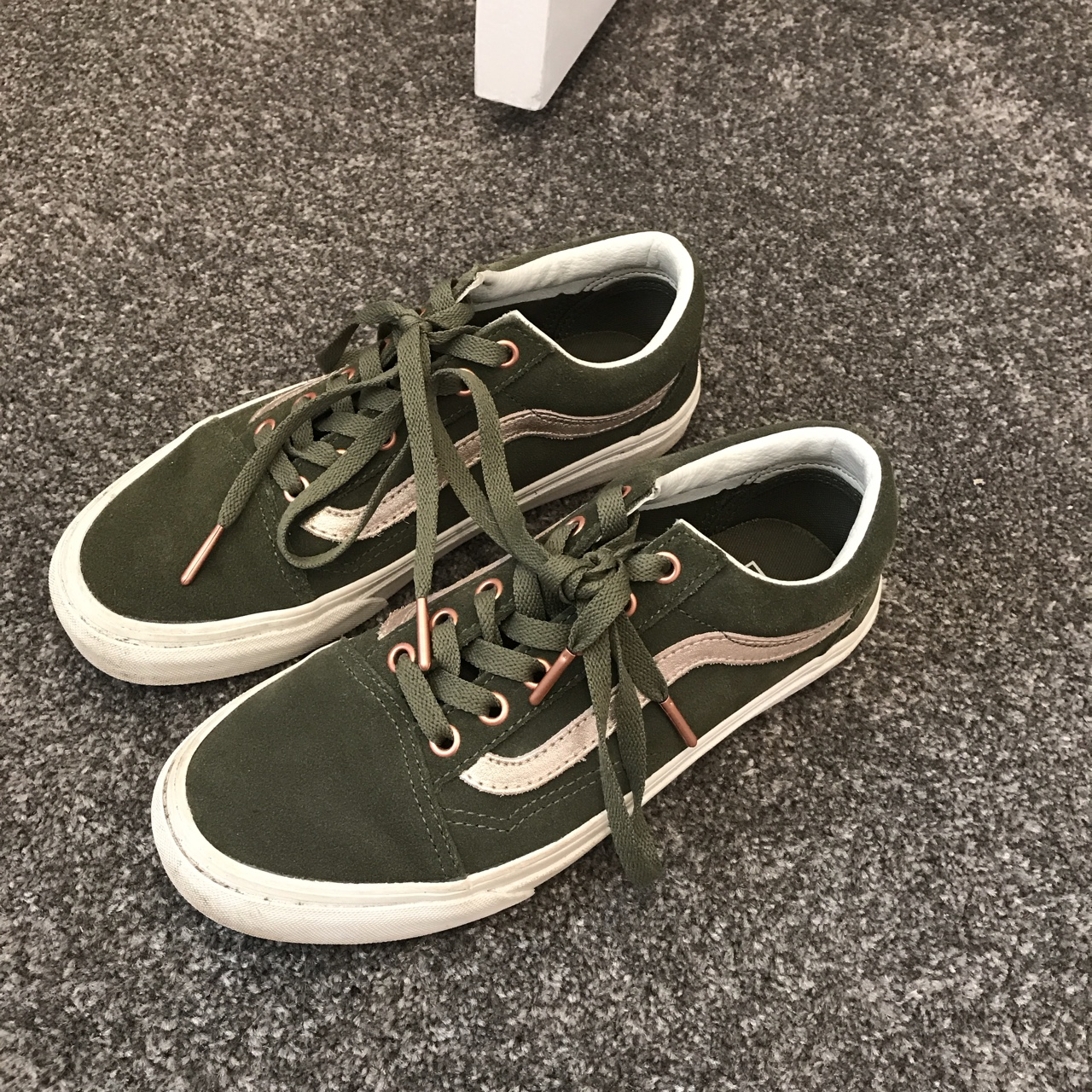 KHAKI AND ROSE GOLD VANS Only worn a
