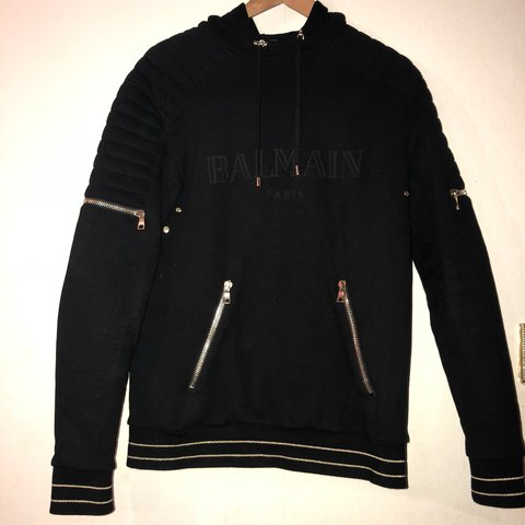 981c1f698ff Balmain gold wire zip pullover hoodie. Worn twice for couple - Depop