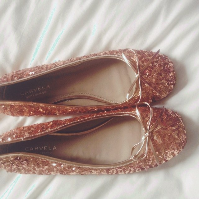 b32395d4dfea Gold flat kurt Geiger sequin shoes bought for £60 open to 5. - Depop