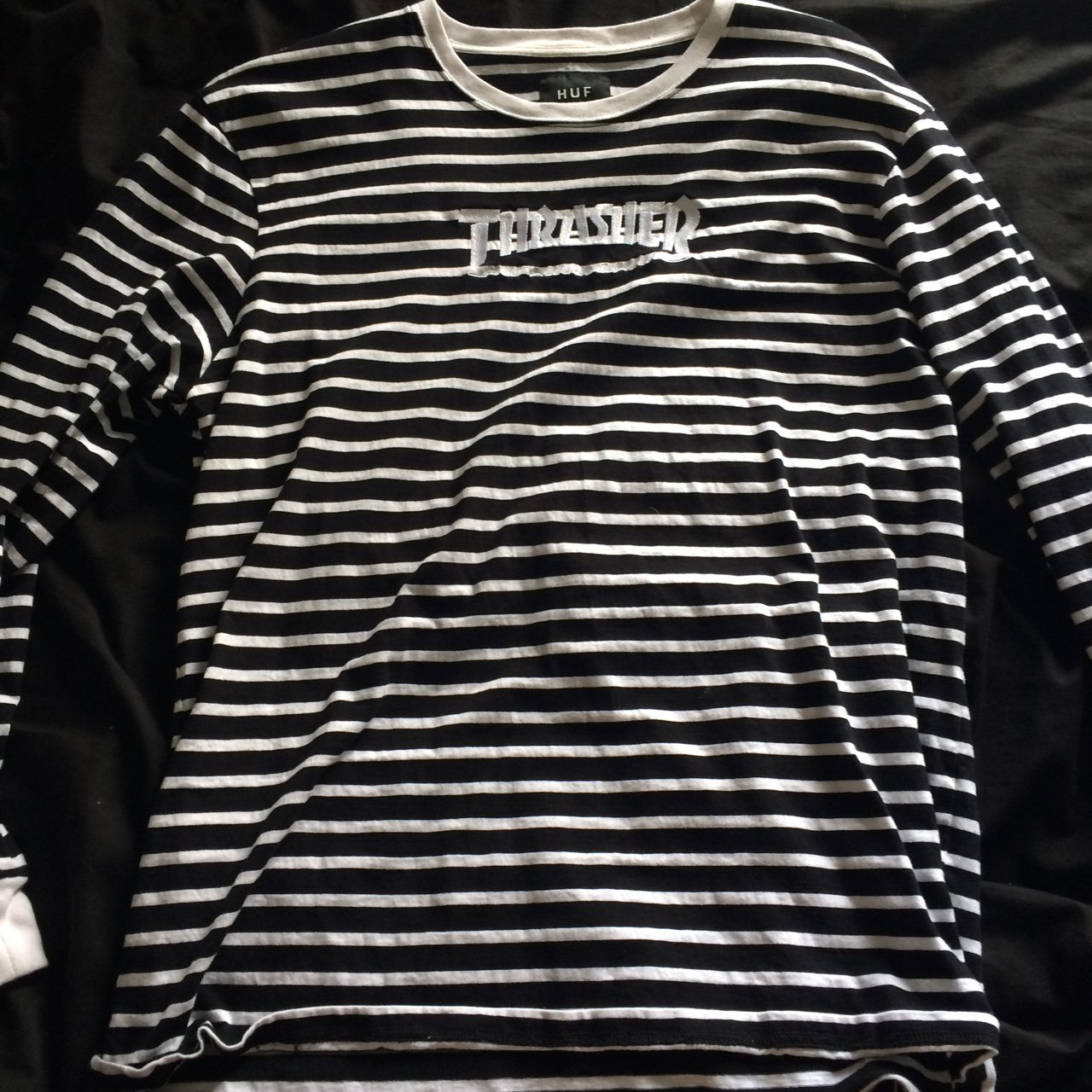 Thrasher x HUF black and white striped long sleeve t-shirt. - Depop 7f14ad78d