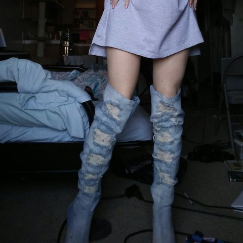 c07c22de2 Privileged Distressed denim thigh high boots bought off of A - Depop