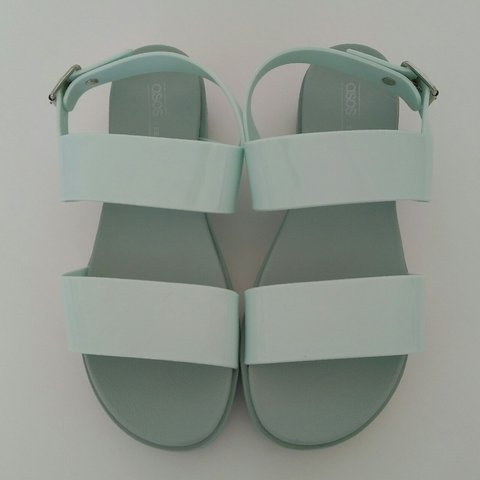 1707f9d3903b ASOS Design Fadey Chunky Jelly Flat Sandals (Mint) Bought - Depop