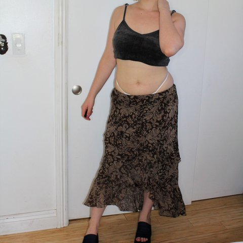 Brown Paisley Ruffle Skirt By Chaps Such A Cute Low Rise To Depop