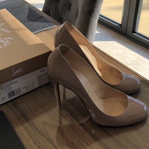 8ae6c939ae @claireoo. 3 days ago. United Kingdom. Selling genuine pair of Christian  louboutin Fifi 100 Patent Calf in nude size 40.Uk 7.
