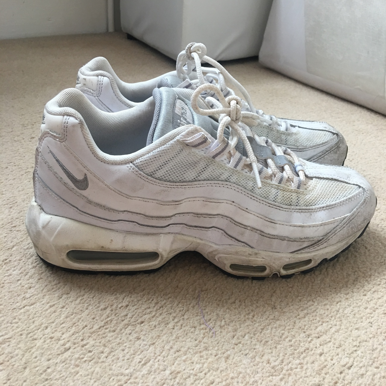 sneakers for cheap 0f480 3192e Nike air max 95's white size 7 Good condition could... - Depop