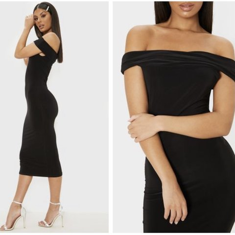5f4466149989 @hollyrh. 24 days ago. Swanley, United Kingdom. Black slinky off the  shoulder Bardot midi dress from PLT pretty little thing. Size 8 ...