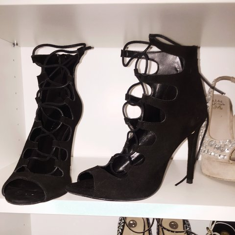 4003a746993 Black suede lace up heels✨ barely worn