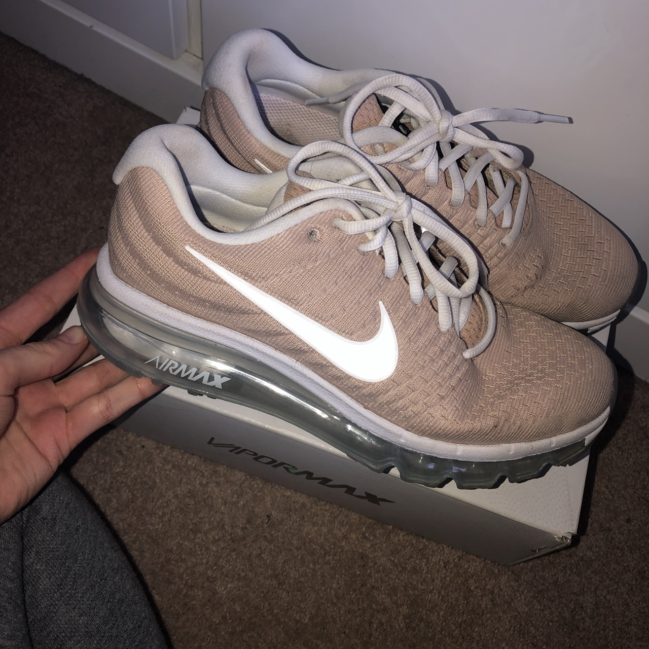 sale retailer 3f1d9 434c9 NIKE AIR MAX 2017 Tan colour- with clear bubble on... - Depop