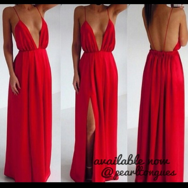 nichola 123. 5 years ago. Red plunge maxi dress with side split! Available  now on here ... ed27d34f0