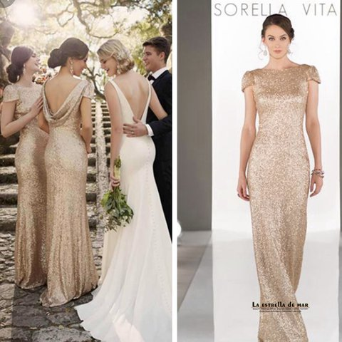 51662ad7 @jaydefleming. last year. Dundee, United Kingdom. Sorella Vita bridesmaid  prom gold sequin cow back dress ...