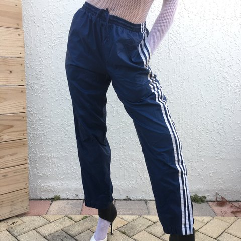 31477f8bb839 Vintage Y2k navy Adidas nylon track pants 2000 with mesh on - Depop