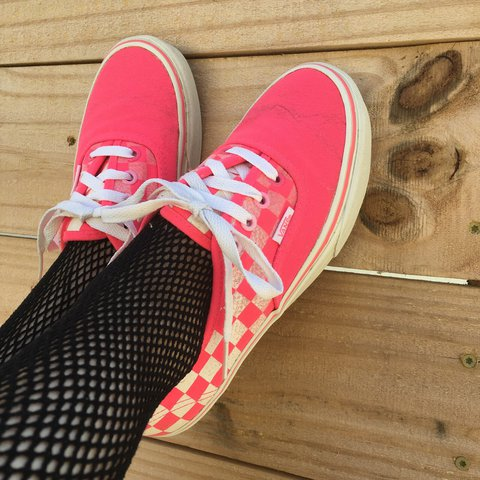 6ed72f8a8ec4 Neon pink checker board lace up Vans 💖 they have a cool 5 - Depop