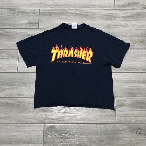 adc3d5c0fed12 Thrasher Skateboard Magazine Crop Top shirt! great has raw - Depop