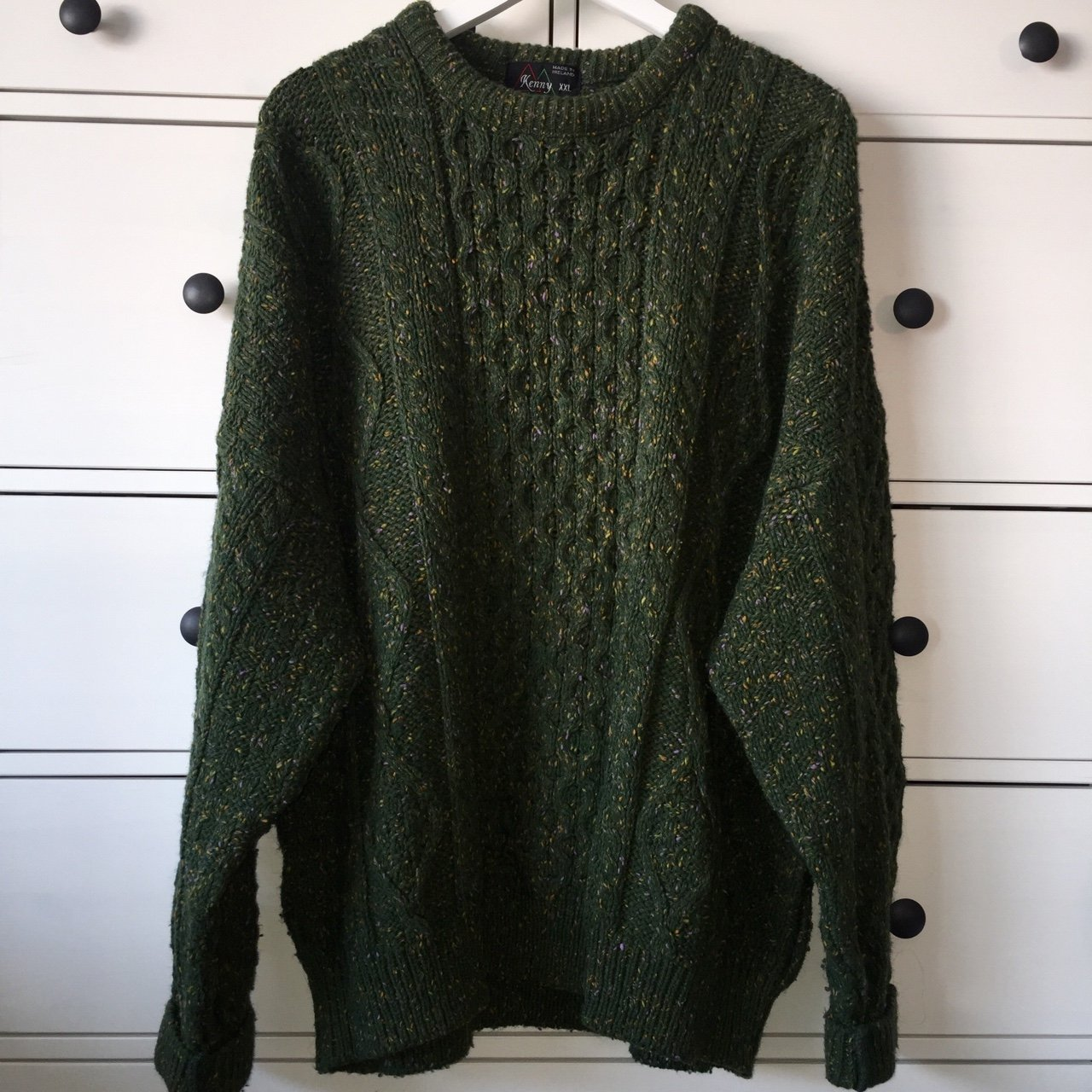 c9e344633a Vintage super chunky cable knit oversized jumper.. Dark with - Depop