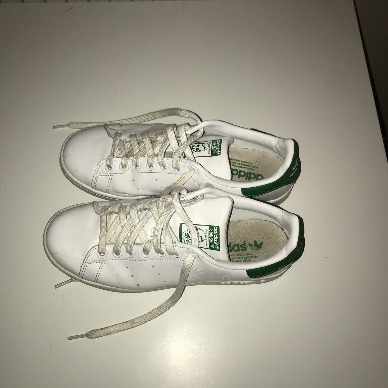 White and green Stan Smith Adidas trainers. Fairly good size - Depop 6946dea10