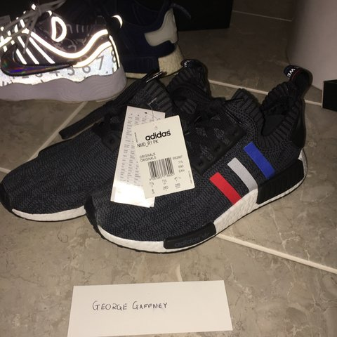 ce2eb6247 Adidas NMD R1 Primeknit - tricolour glitch black. US 8 Uk pm - Depop