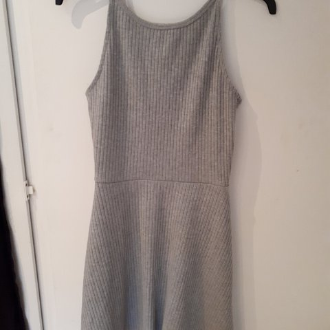 77a5dcc52a Really cute grey ribbed skater dress from Topshop with a a a - Depop