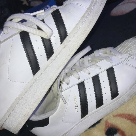 ebb2506b9cd0 white and black superstar adidas! super cute   easy to only - Depop