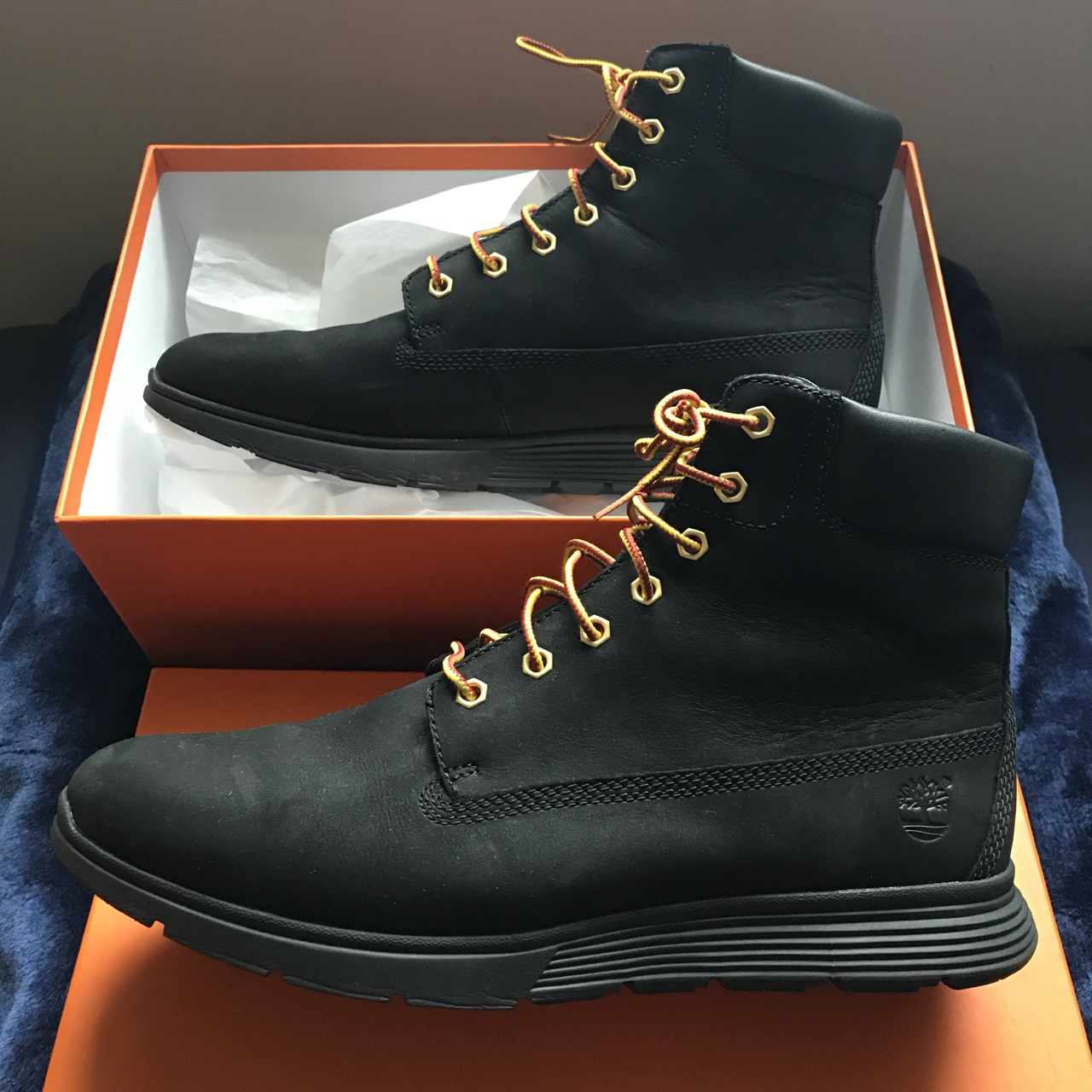Timberland boots black Yellow laces