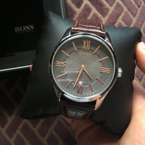 Men S Hugo Boss Watch Brown Leather Strap With Grey Face In Depop