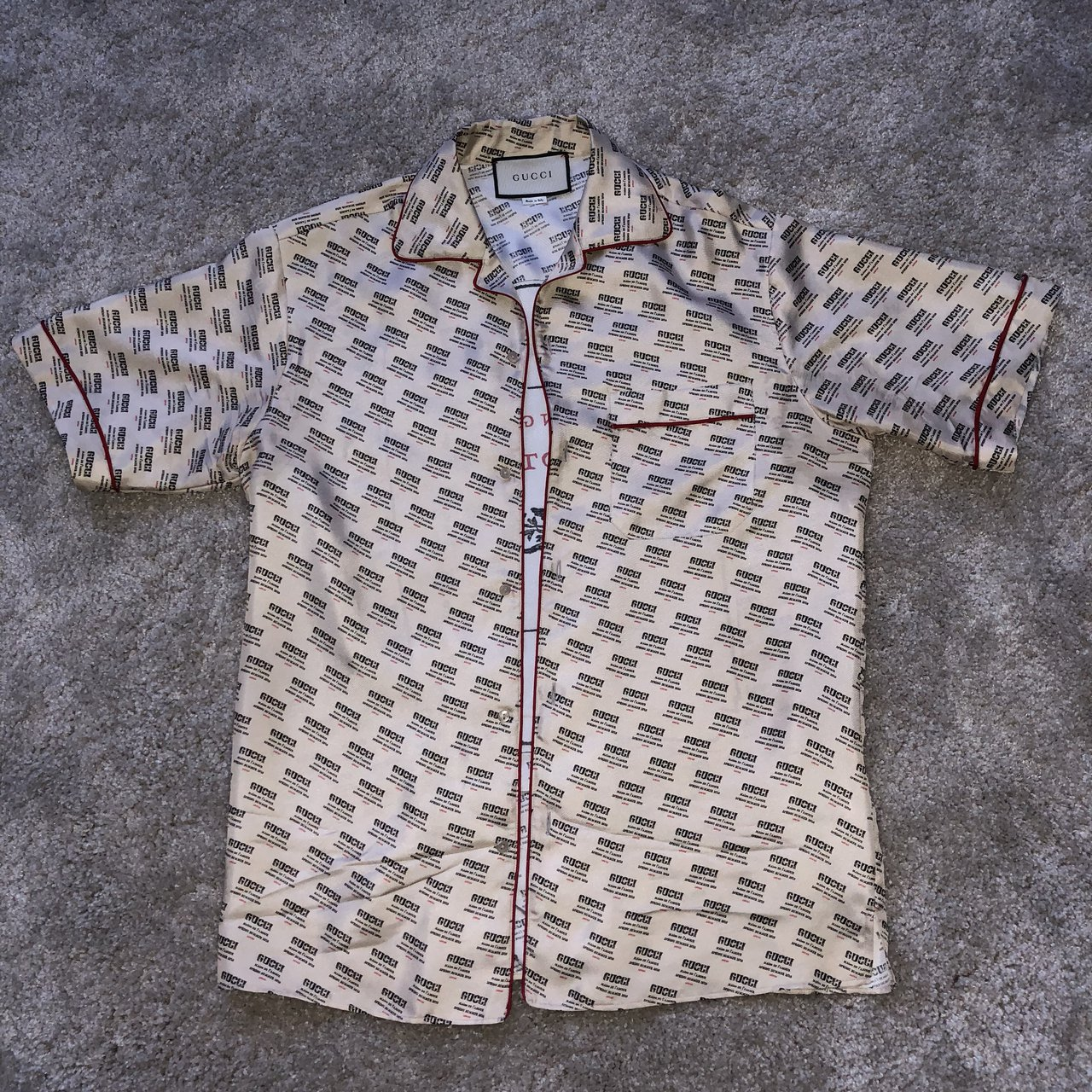 0c90249be9b GUCCI stamp print bowling shirt. Worn once only to take a be - Depop