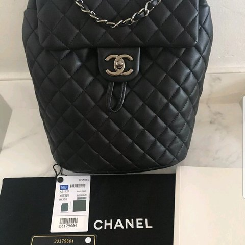 276acbbddb9d 100% Authentic Chanel backpack. This backpack is black with - Depop