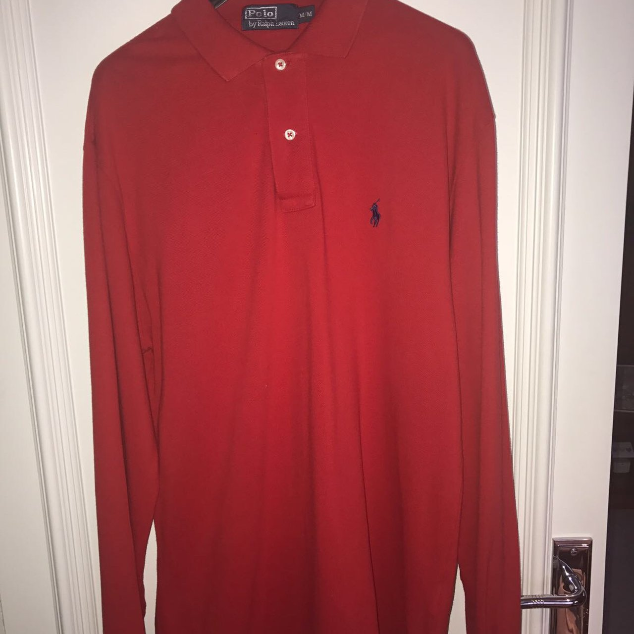 Men s Ralph Lauren red long sleeve polo. 100% genuine 2b8f3f403c2c