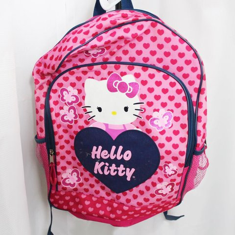3e2195f859 VINTAGE HELLO KITTY BACKPACK!! Pink and red Heart print bag - Depop