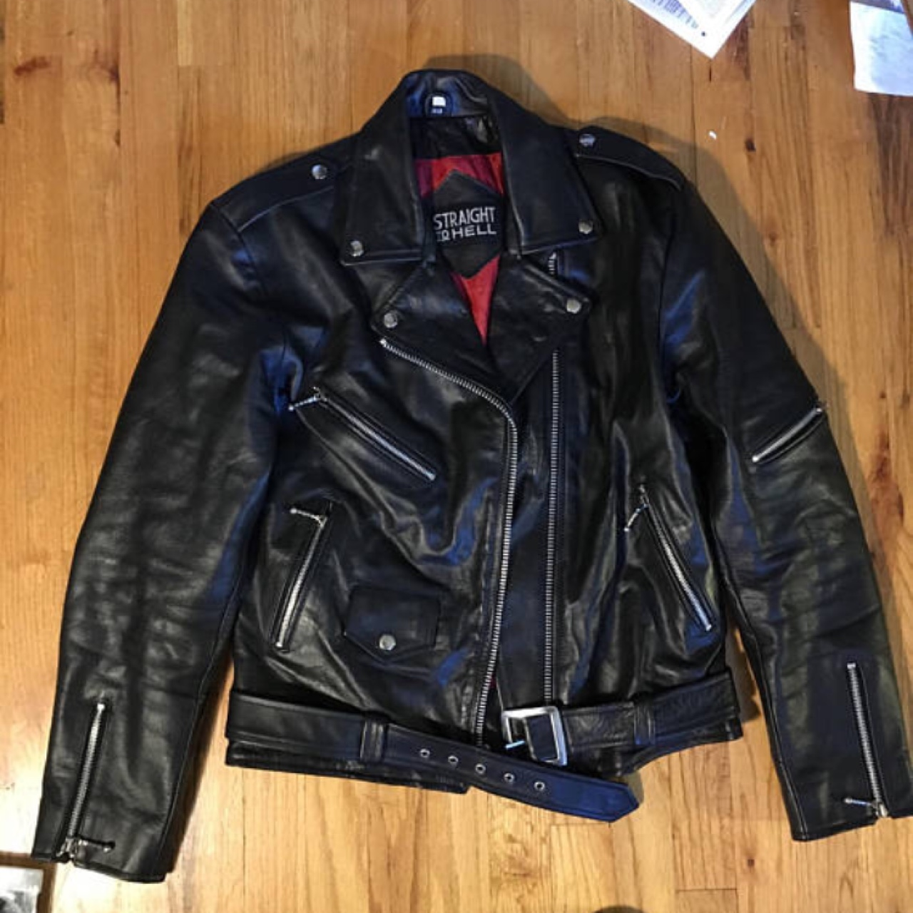 7318f2120 Size 40 straight to hell commando leather jacket... - Depop