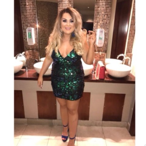 51ac0346f384 @laurenmarie97. last year. Glasgow, United Kingdom. Pink boutique size 12  turquoise green blue sequin wrap mini dress ...