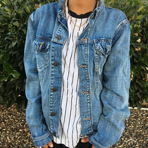 b9aac68a862ae3 VINTAGE DENIM JACKET✨ Dope jacket made with real denim (not - Depop