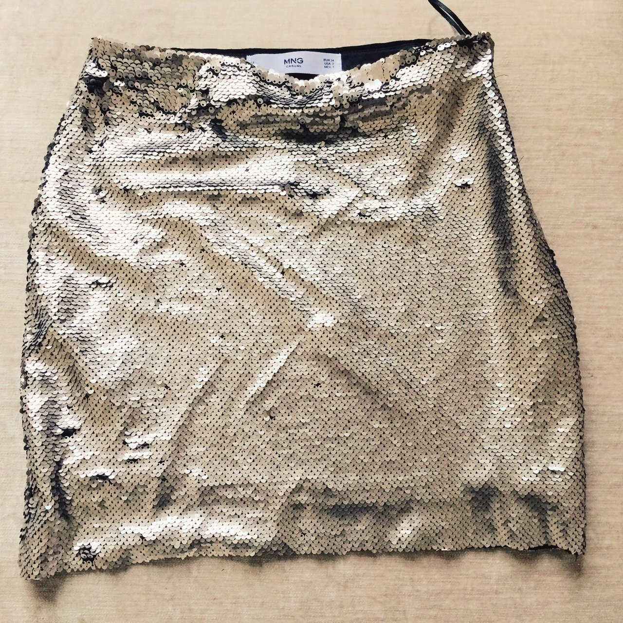 b0152d65e2 Sequin gold mini skirt from Mango. Never been worn. Perfect - Depop