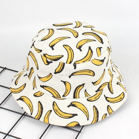 25ed9fac105 White banana 🍌 bucket hat! Super cute and one size fits - - - Depop
