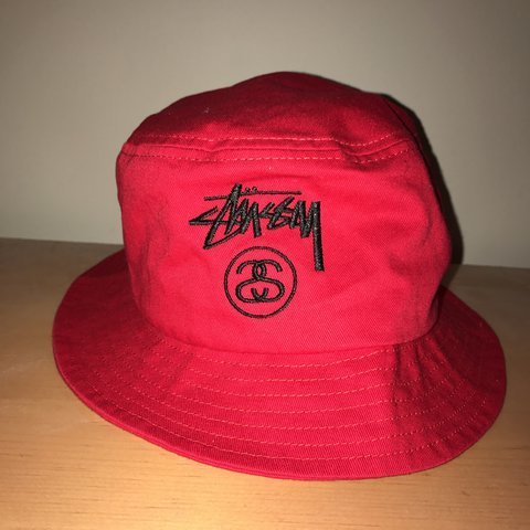 d0fcbfc0e20 Like new stussy bucket hat Size L Red Not supreme bape - Depop