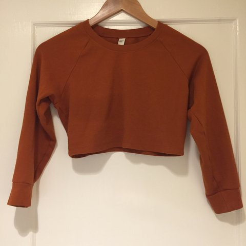 f372af5bc9d247 American apparel burnt orange sweatshirt-style crop top. and - Depop