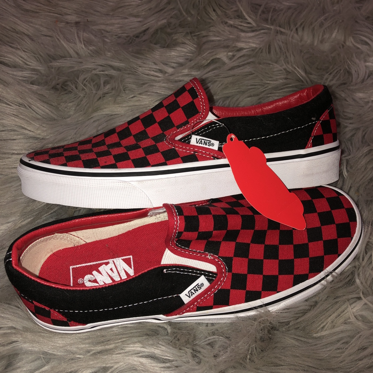 black and red checkered vans slip ons