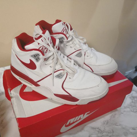 4725b7c430e9 Nike air flight 89 red and white size 11. 8 10 condition. me - Depop