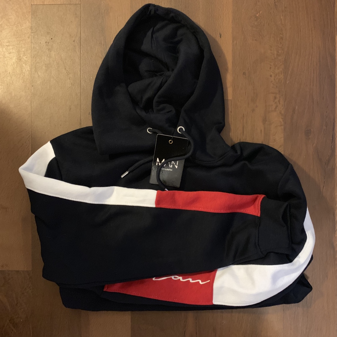 Boohoo Man tracksuit blue white and red, fully sold Depop
