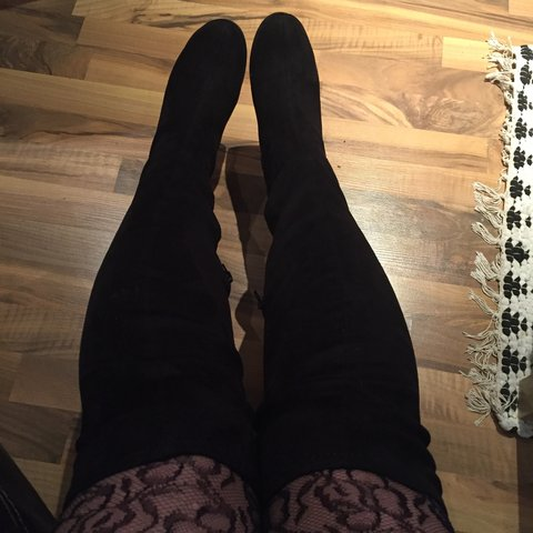 a4654af27c @misslouiseloughlin. 3 years ago. Sheffield, South Yorkshire, UK. Wide-fit  suede look over the knee boots by New ...