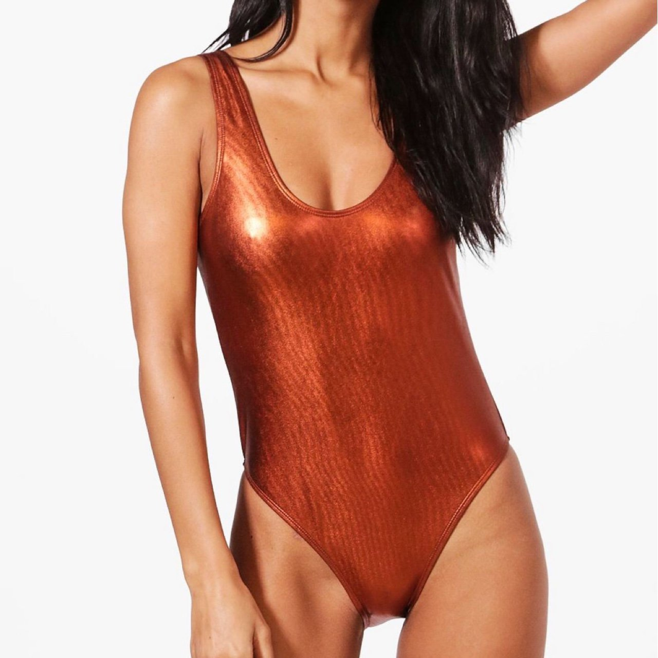 7d9f98b513eb Boohoo metallic copper swimsuit, size 10, new with tags, One - Depop