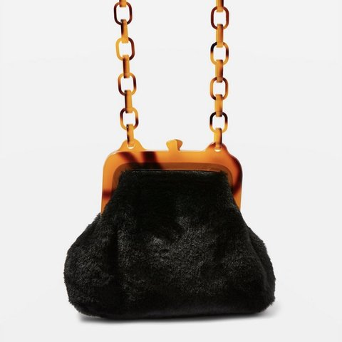 58791d713 Topshop faux fur bag with tortoiseshell strap used once bag - Depop
