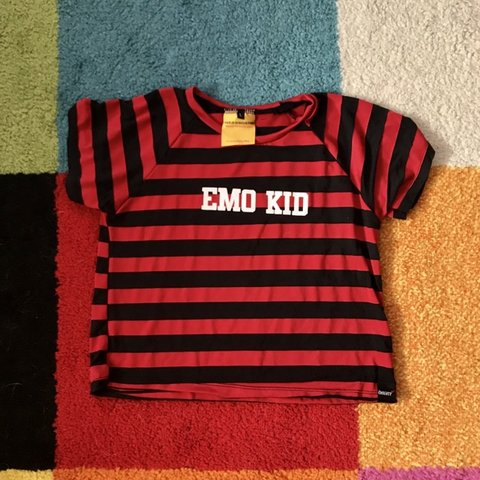 d49f2e2191 O MIGHTY DOLLS KILL EMO KID CROP TOP RED STRIPED TEE this a - Depop