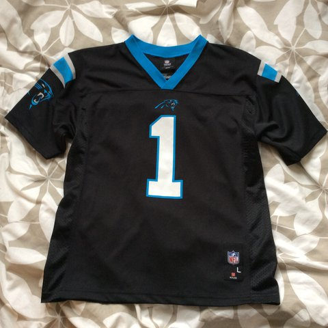 Cheap Black blue white NFL Carolina panthers top jersey top Depop  for sale