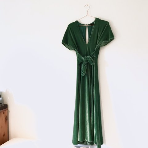 2586a884 @jollie25. 14 days ago. Lincoln, United Kingdom. 🌱 Zara green velvet maxi  dress